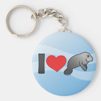 I Love Manatees Basic Round Button Keychain