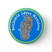 I love manatees cute cartoon illustration button