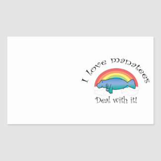 I love manatees deal with it rectangular sticker