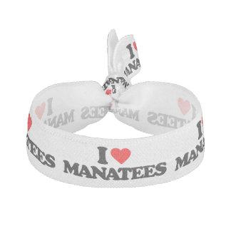 I LOVE MANATEES ELASTIC HAIR TIE