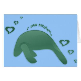 I Love Manatees Green Greeting Card