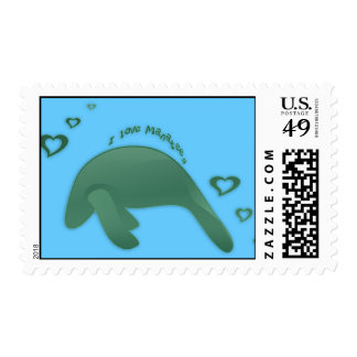 I Love Manatees Green Postage Stamps