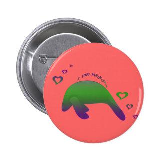 I love Manatees Green Purple Pins