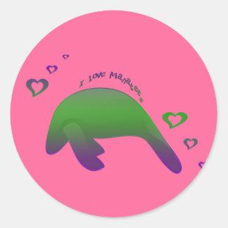 I love Manatees Green Purple Classic Round Sticker