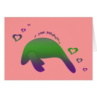 I love Manatees Green Purple - Customized Card