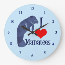 I Love Manatees Large Clock