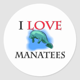 I Love Manatees Classic Round Sticker
