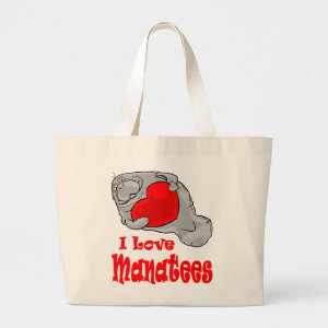 I Love Manatees Tote Bag bag