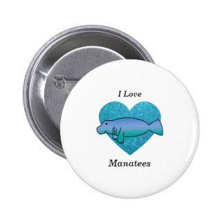 I love manatees turquoise glitter heart pinback buttons