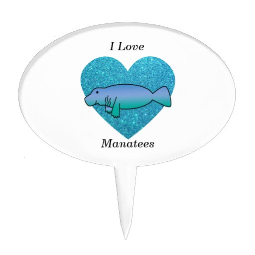 I love manatees turquoise glitter heart cake picks