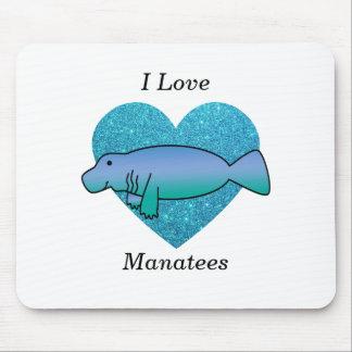 I love manatees turquoise glitter heart mousepad
