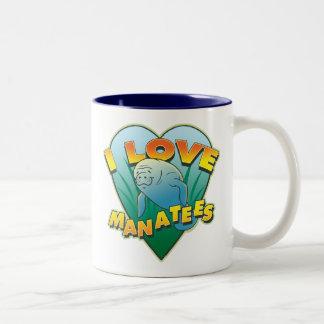 I Love Manatees Two-Tone Coffee Mug
