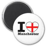 I love Manchester 2 Inch Round Magnet