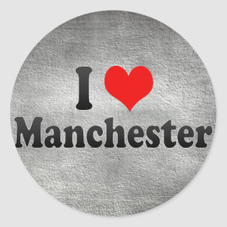 I Love Manchester, United Kingdom Classic Round Sticker