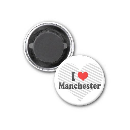 I Love Manchester, United Kingdom 1 Inch Round Magnet