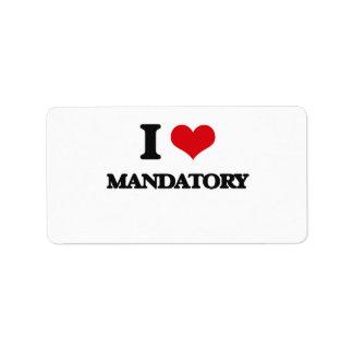 I Love Mandatory Custom Address Label