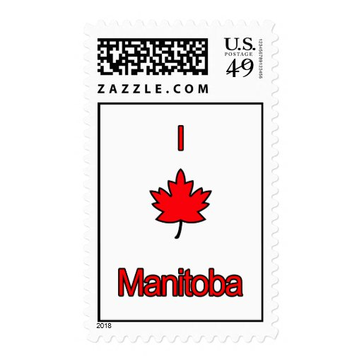 I Love Manitoba Postage Stamp