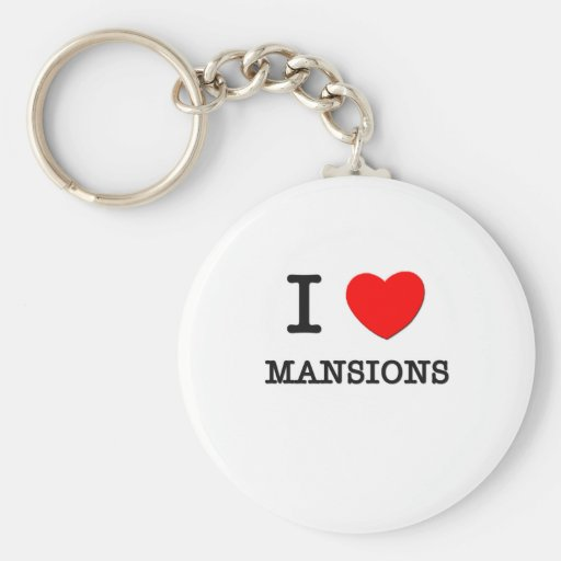 I Love Mansions Basic Round Button Keychain