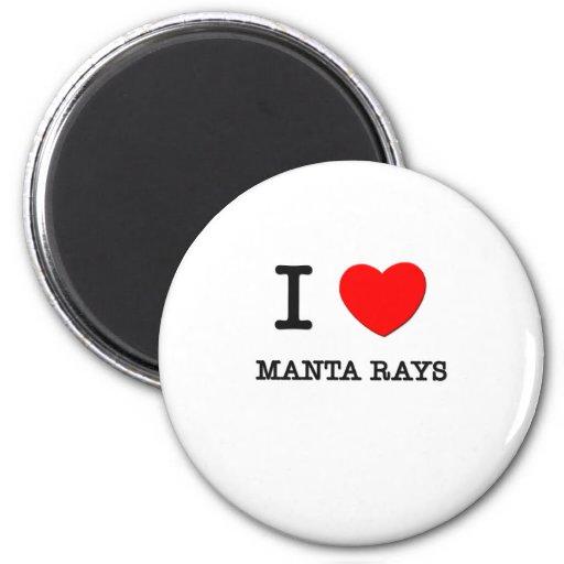 I Love Manta Rays 2 Inch Round Magnet