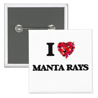I Love Manta Rays 2 Inch Square Button