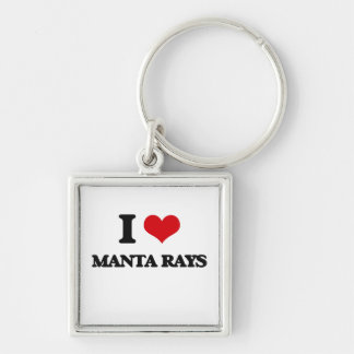 I love Manta Rays Silver-Colored Square Keychain