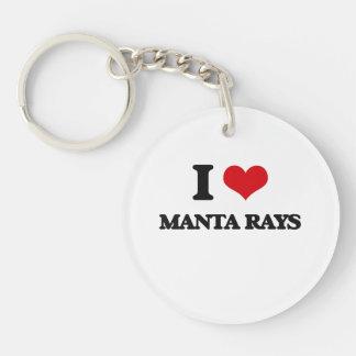 I Love Manta Rays Single-Sided Round Acrylic Keychain