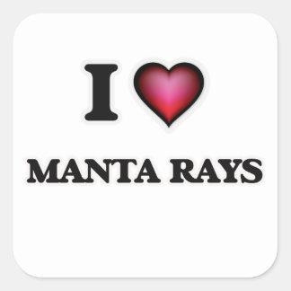 I Love Manta Rays Square Sticker