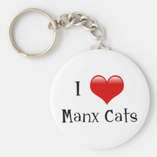 I Love Manx Cats Basic Round Button Keychain
