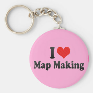 I Love Map Making Basic Round Button Keychain