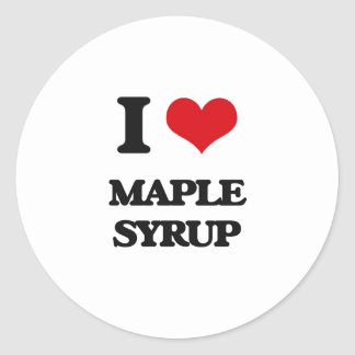 I Love Maple Syrup Classic Round Sticker
