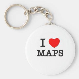 I Love Maps Basic Round Button Keychain