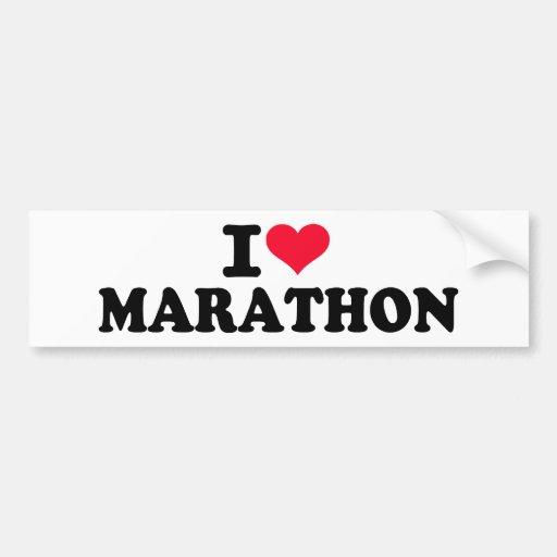 I love Marathon Car Bumper Sticker