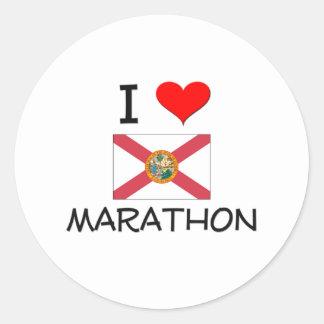 I Love MARATHON Florida Round Stickers