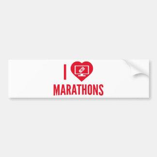 I Love Marathons Car Bumper Sticker