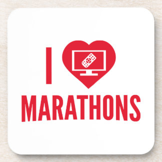 I Love Marathons Drink Coaster