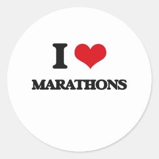 I Love Marathons Round Stickers