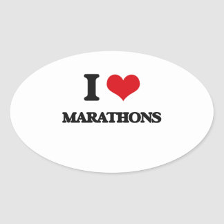I Love Marathons Oval Stickers