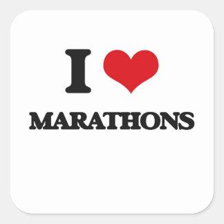 I Love Marathons Square Stickers