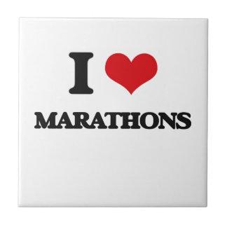 I Love Marathons Ceramic Tiles
