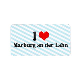 I Love Marburg an der Lahn, Germany Address Label