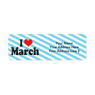 I Love March Return Address Label