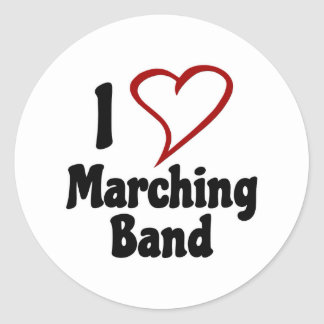 I Love Marching Band Classic Round Sticker