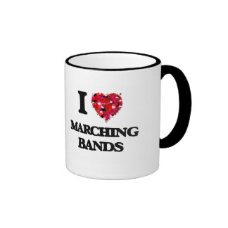 I Love Marching Bands Ringer Coffee Mug