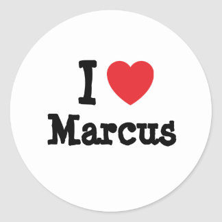 I love Marcus heart custom personalized Round Sticker