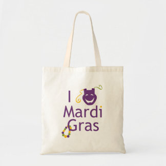 I Love Mardi Gras Bead Tote Bag