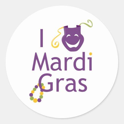 I Love Mardi Gras Parade Stickers