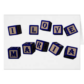 I love Maria toy blocks in blue Card