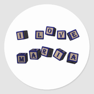 I love Maria toy blocks in blue Classic Round Sticker
