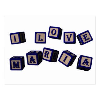 I love Maria toy blocks in blue Postcard