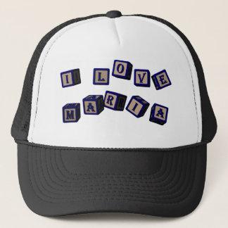 I love Maria toy blocks in blue Trucker Hat